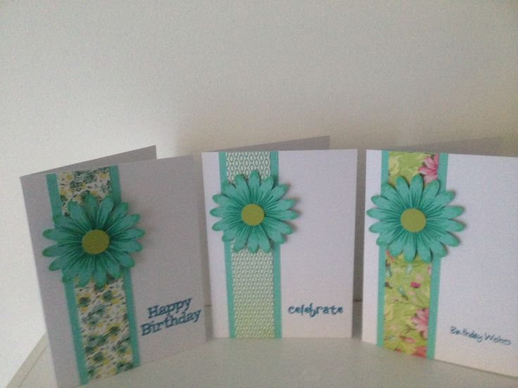 Part of a set of 6 birthday cards using SU daisy punch, Fiskers sml circle punch and Kaisercraft scraps of paper.