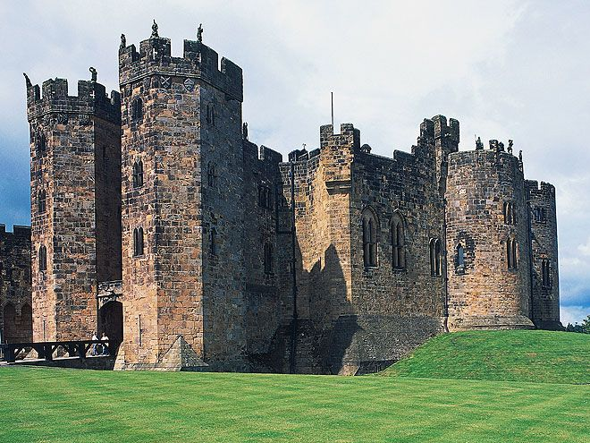 11 Real-Life Harry Potter Destinations You Can Visit | ALNWICK CASTLE, ENGLAND | This Medieval castle was used as a set for the fictional Hogwarts School for Witchcraft and Wizardry in the first two Harry Potter films. You'll see Alnwick in familiar scenes like Harry's first broomstick flying lesson in Harry Potter and the Sorcerer's Stone or Ron's flying car crash in Harry Potter and the Chamber of Secrets. alnwickcastle.com