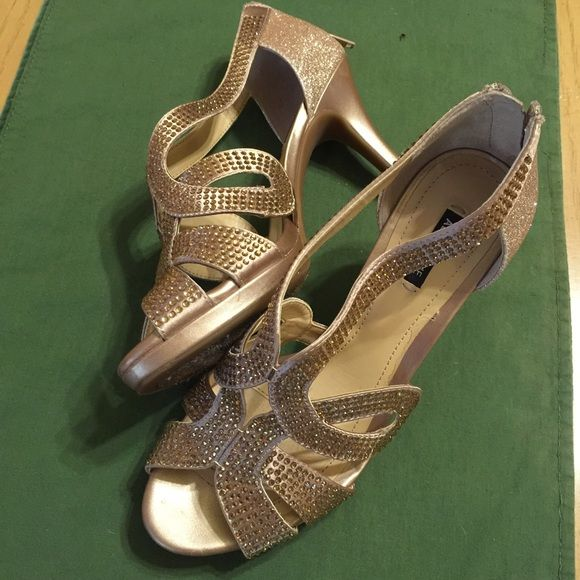 Gold sparkly sandals with cristals They are very conforable, worn once to a wedding as a mother of the groom Shoes Sandals