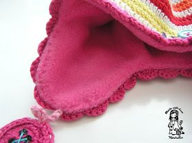 How to add fleece lining to  crochet earflap