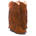 BROWN FAUX SUEDE FRINGE POINTY TOE COW BOY MID CALF BOOTS