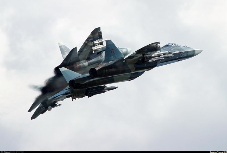 Stunning image of two Russian T-50 stealth planes during weapon integration tests