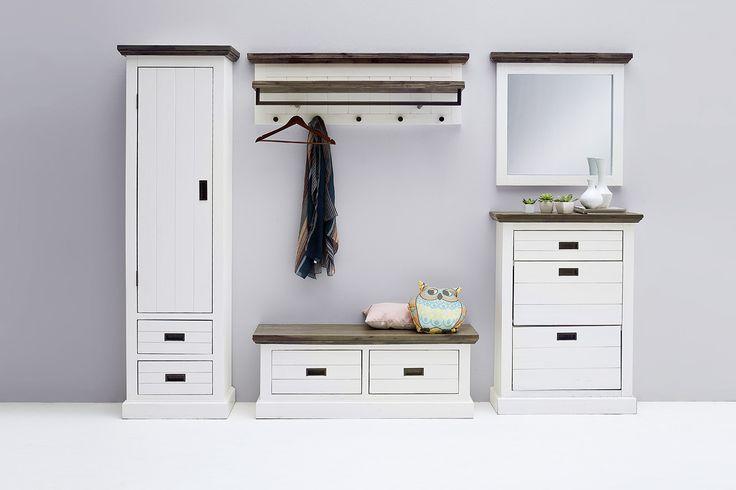 Schuhschrank Blance I Strukturweiß Passend zum Möbelprogramm Blance 1 x Schuhschrank mit 1 Schubkasten und 2 Klappen Front: Akazie strukturweiß lackiert / massiv... #flur #garderobe