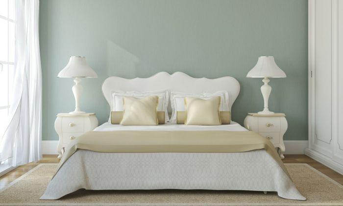 farbgestaltung schlafzimmer wanddeko seladongrün