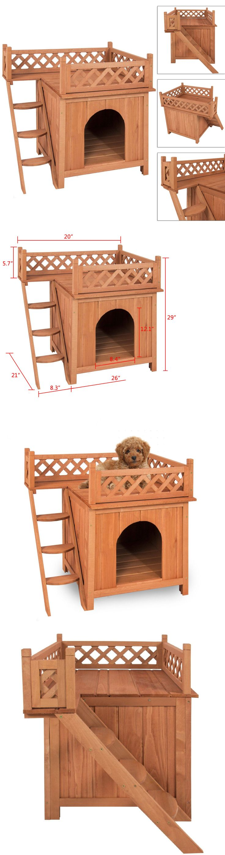 Dog Houses 108884: Pet Dog Wood House Indoor Puppy Room Outdoor Roof Balcony Bed Shelter BUY IT NOW ONLY: $49.98