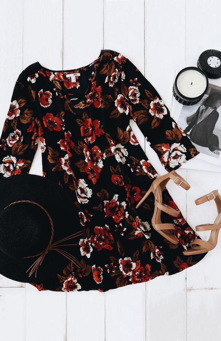 Feel instantly enchanted when you slip on the Amuse Society Casyn Black Floral Print Shift Dress! Gauzy woven fabric, with a black, red, cream, and brown floral print, falls from a strappy V-neckline into a relaxed, shift silhouette. #lovelulus