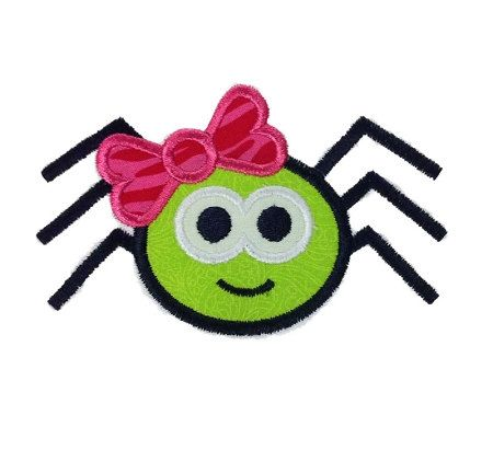 Spider With Bow Halloween Applique Machine by RivermillEmbroidery, $2.95