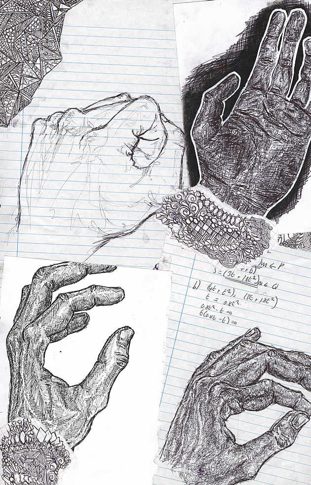 This AS Art sketchbook page shows visual research at its purest. Students often forget that research doesn't just involve analysing artist work; it includes the visual investigation of forms: drawing items from a range of angles and in a range of different mediums. Here, Charlotte has worked over scraps of lined note paper (some with maths equations left on them) with meticulous, detailed pen drawings, developing familiarity with the human form.