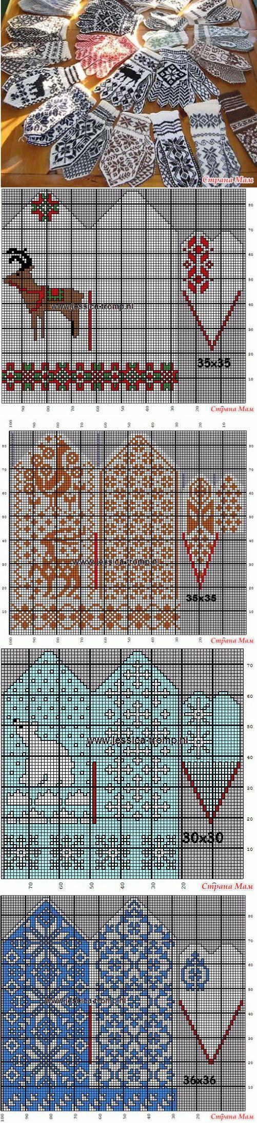 схема вязания съемных варежек