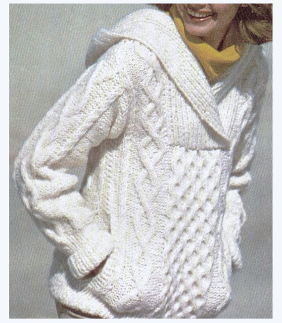 Aran Knitting : Aran Knit Hooded Sweater Super Sweet by CowichanValley on Etsy, $2.99