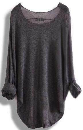 Gray Loose Batwing Sleeve Irregular Sweater $22.00