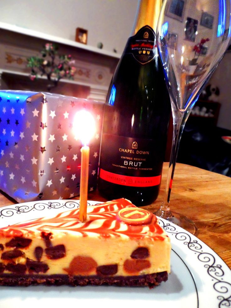 A birthday surprise! Chapel Down sparkling wine and birthday cheesecake!