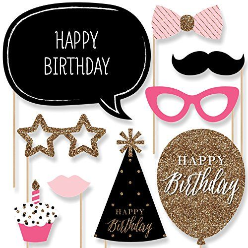 Chic Happy Birthday - Pink, Black and Gold - Birthday Photo Booth Props Kit - 20 Count Big Dot of Happiness http://www.amazon.com/dp/B017WKKSW0/ref=cm_sw_r_pi_dp_fFvTwb0NWJT7G