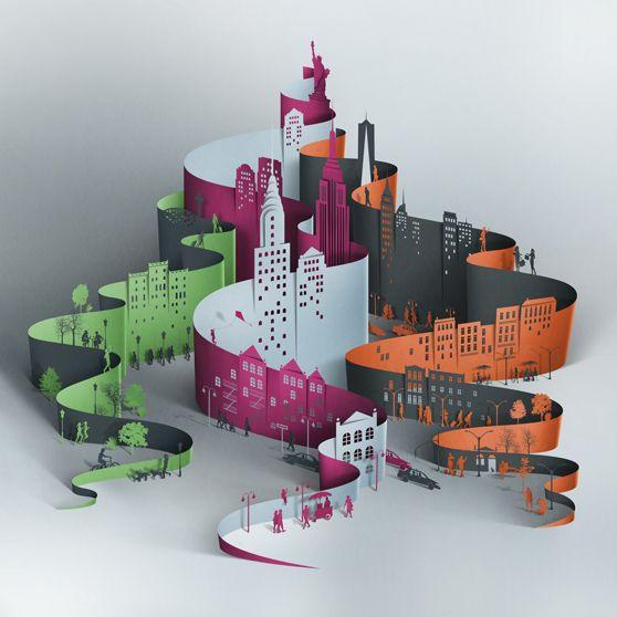 / laser cut skyline / artwork for affina hotel manhattan lobby / eiko ojala /