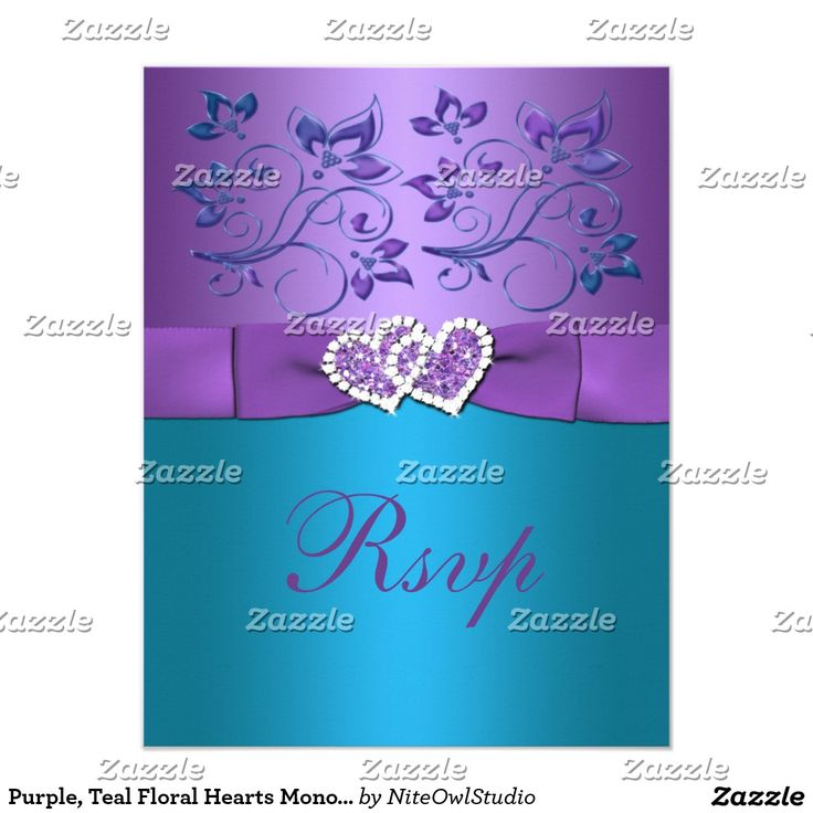 Purple, Teal Floral Hearts Monogram Wedding RSVP Card This pretty purple and turquoise blue floral wedding reply card has a purple PRINTED ribbon and a pair of PRINTED diamond jewels and FAUX glitter joined hearts on it that matches the wedding invitation shown below. The paper choice is customizable. If you require any other matching items, please email niteowlstudio@gmail.com.