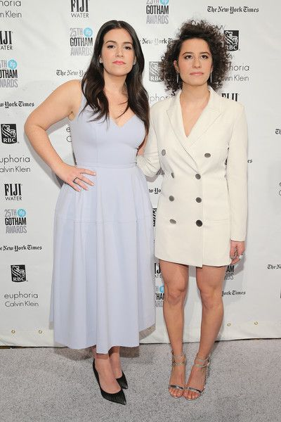 Broad City duo Abbi Jacobson and Ilana Glazer were double the chic in their demure outfits as they walked the red carpet. Jacobson wore a flirty soft lavendar sweetheart dress with black heels while Glazer donned a menswear-inspired minisuit with strappy silver sandals.