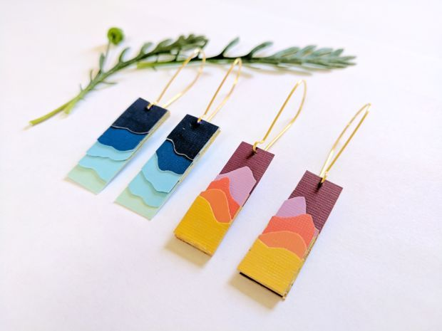 Paper Landscape Silhouette Earrings DIY