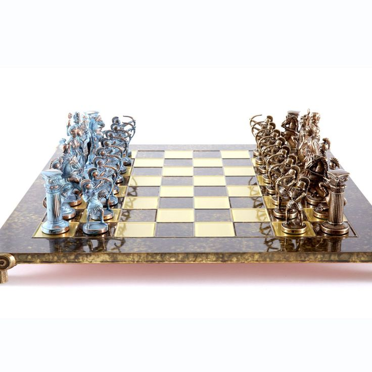 Chess Set  Archers (Large) - Blue/Bronze - Handcrafted Metallic Chess brown