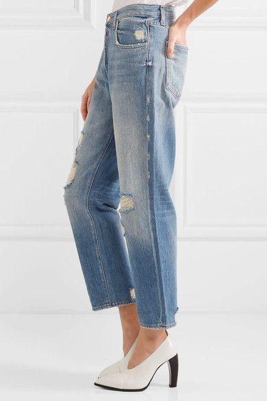 J Brand - Ivy Cropped Distressed High-rise Straight-leg Jeans - Mid denim - 24