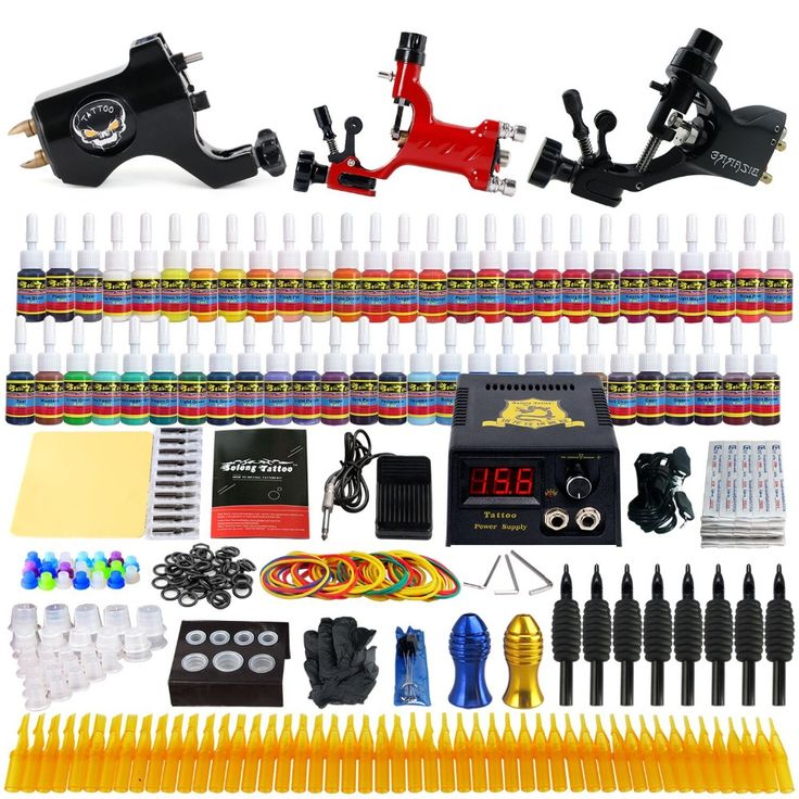 69.30$  Watch here - http://ali2qn.shopchina.info/go.php?t=32671536351 - Beginner Starter Complete Tattoo Kit Professional Tattoo Machine Kit Rotary Machine Guns 54 Inks Power Supply Grips Set TK355 69.30$ #magazineonlinewebsite