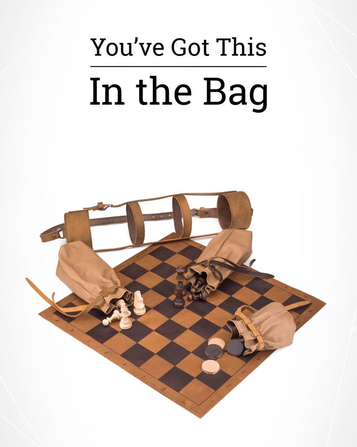 With the new pigskin bags holding your chess and checker pieces you'll be (even) more confident in beating your opponent. Come see the Tournament Chess and Checkers Set!