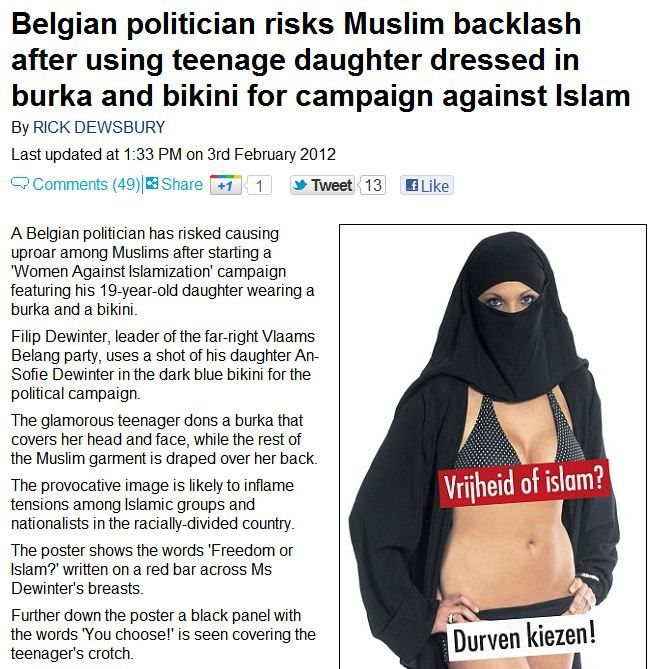 BELGIUM: Vlaams Belang Party's second advertising campaign for 'Women Against Islamization'