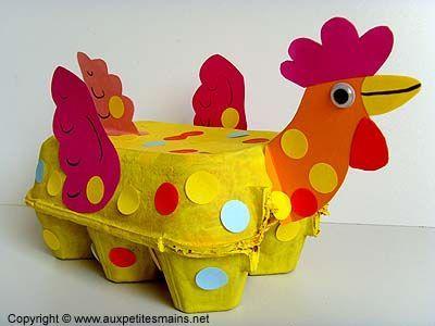 Manualidades semana santa. Gallina hecha con material reciclado. En el interior podéis guardar los huevos de pascua