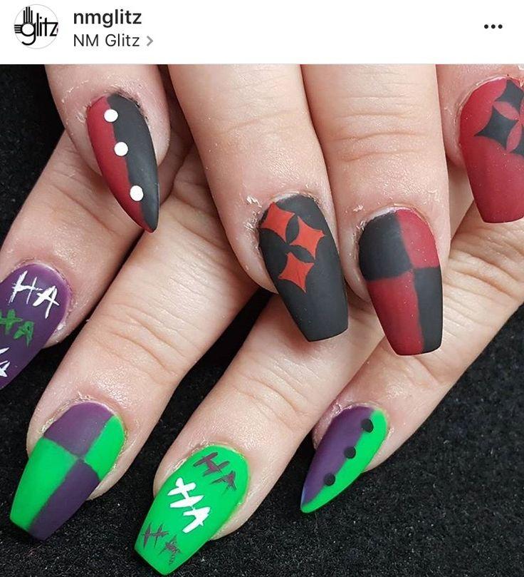 Joker And Harley Quinn Nails