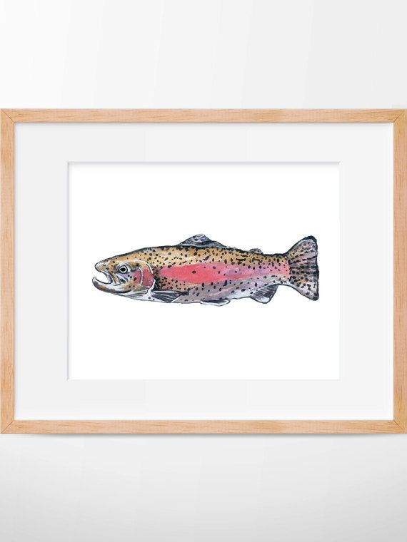Rainbow Trout Print, Hunting and Fishing, Fly Fishing, Fish Art, Fishing Decor, Trout Print, Fishing Wall Art