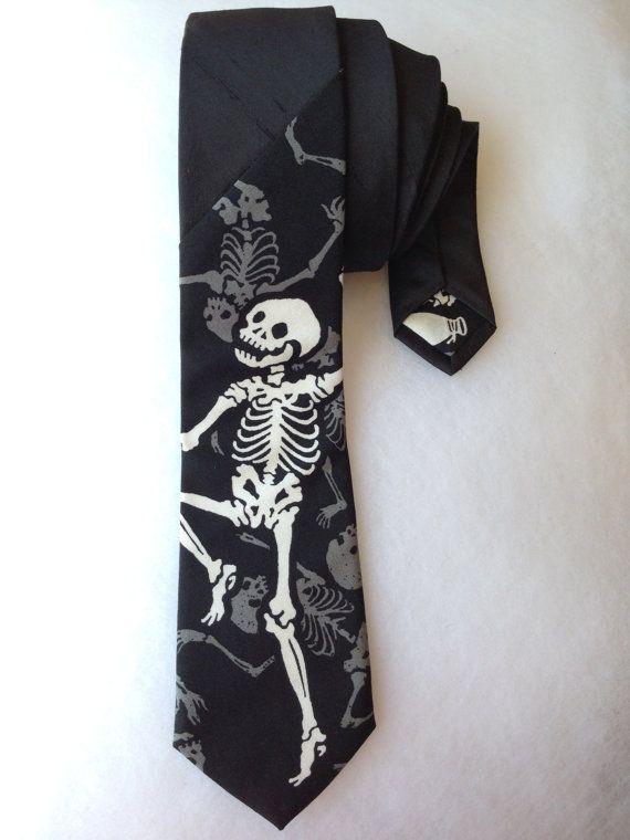 Skeleton Tie Black by WatfordTies on Etsy