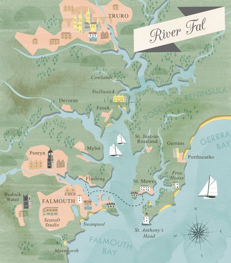 Illustrated map of River Fal, showing Falmouth, Truro, Carrick Roads & Roseland Peninsula. By Matt Johnson for Seasalt Cornwall.