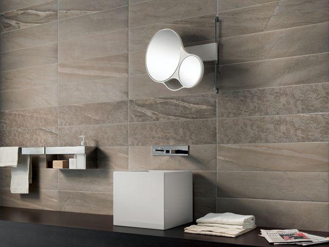 Badfliesen Ideen Braun Feinsteinzeug Badezimmer Claystone