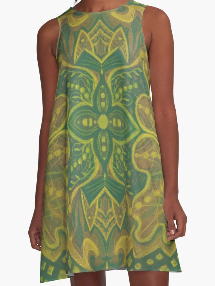 """""Oak King"", bohemian pattern in yellow and green tones"" A-Line Dresses by clipsocallipso 