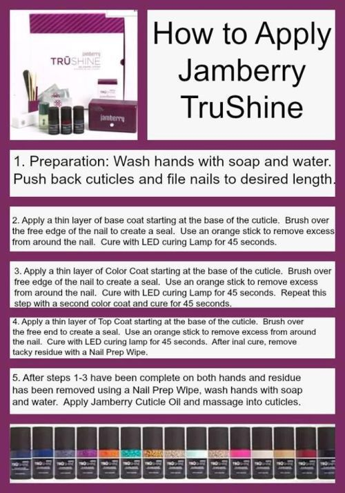 How to apply Jamberry Trushine Gel. Please email me if you have any questions about Jamberry! heatherhanshew73@aol.com Shop my online catalog at heatherhanshew.jamberry.com