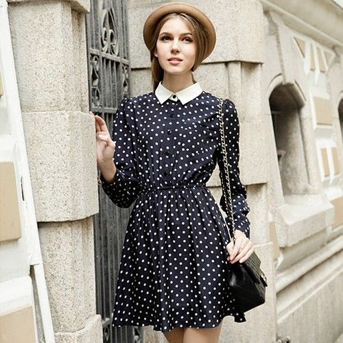 2013 New Season Women Fashion Retro Dot Dress - Shipping Cap Promotion- - TopBuy.com.au