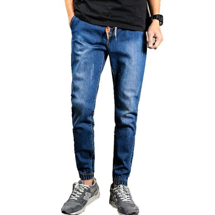 13.92$  Buy now - http://alig9e.shopchina.info/go.php?t=32803283137 - Mens Denim Jeans 2017 new Men Drawstring Slim Fit Denim Joggers Mens Joggers Jeans Pant Men Stretch Elastic Jean Pencil Pants 13.92$ #buychinaproducts