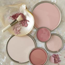 This image is from an article on paint colors with a link to take a quiz on your personal color preference.  (Haven't taken the quiz myself yet, so can't vouch for it's accuracy.) A selection of fairly neutral pink tones shown here -- very little intensity.  Darkest ones resemble adobe pinks.  Lightest samples are flesh/blush hues.