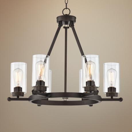 Holman Bronze 6 Light 26 3 4 Quot Wide Industrial Chandelier