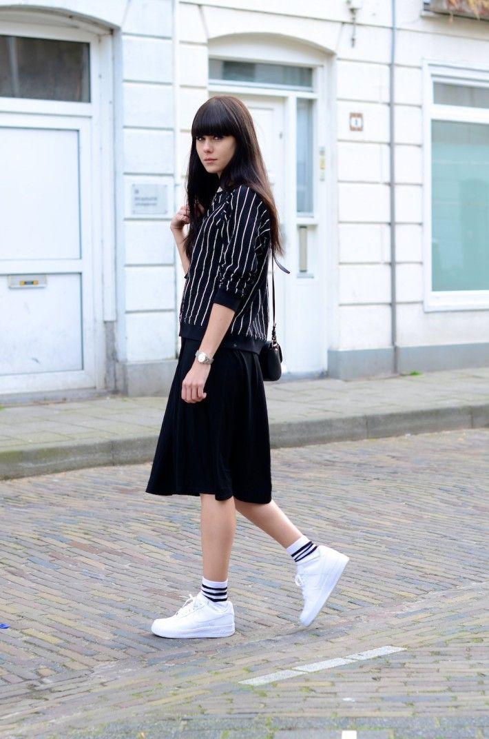 midi skirt with sneakers boyish sports look style skirt