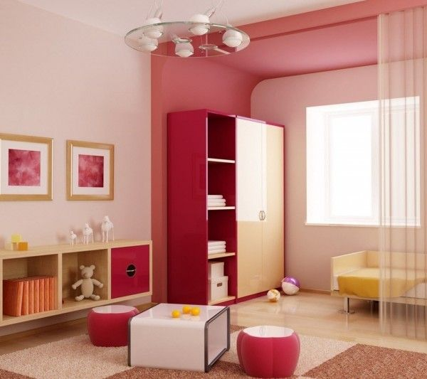 Girls mostly prefer a soft pink or light pastel colors. Their room is always  light, airy image of beauty and harmony.