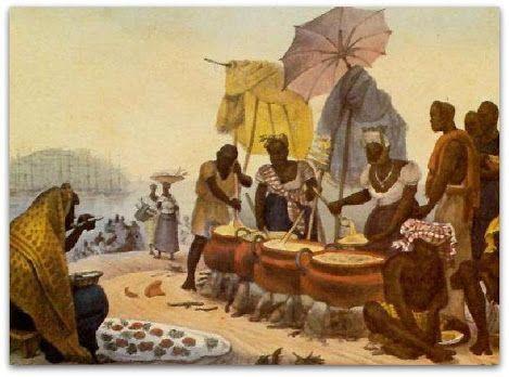 Negras cozinheiras, vendedoras de angú - Jean Baptiste Debret.  Descrição da cena   Escolhi para cenário a praia do mercado de peixes (praia do Peixe), naturalmente muito movimentada por se encontrar, além do mais, nas proximidades da Alfândega.   Vê-se, ao fundo, a ilha das Cobras. E no plano recortado pode-se distinguir uma barca de pescadores, com um resto de peixes de qualidade inferior, e que serve de venda improvisada aos negros da barca, abastecendo com sua lamentável mercadoria as…