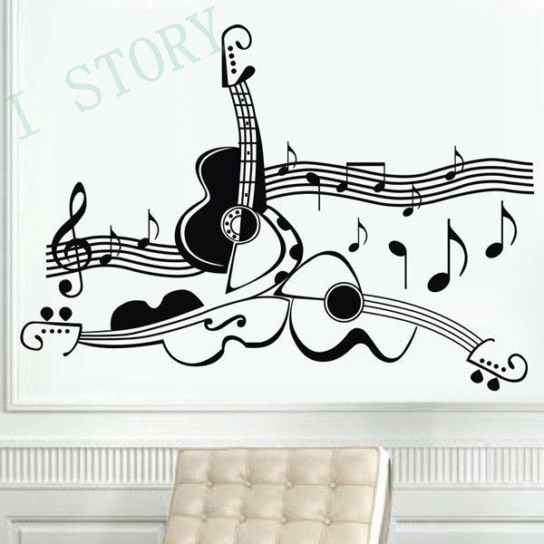 Оригинальный дизайн гитары музыкальный инструмент стены винила переводные картинки, музыка гитара декор стены наклейки персонализированные, бесплатная доставка купить на AliExpress
