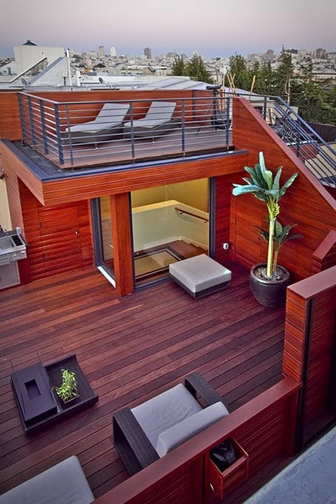Using A Modern Deck Design You Can Turn The Roof Of The Garage Into A Stylish Deck You Can Use A Wo Rooftop Terrace Design Rooftop Design Roof Terrace Design