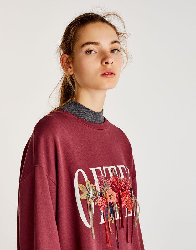 Puskullu Cicek Islemeli T Shirt Sweatshirtler Giyim Kadin Pull Bear Turkiye Clothes Fashion Women