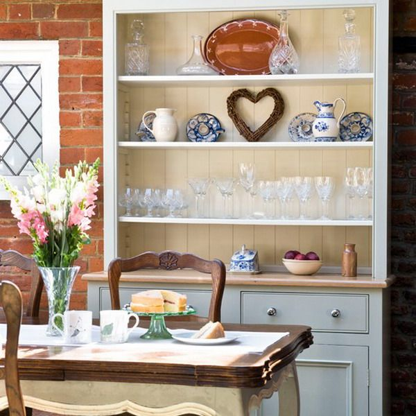 A Floor To Ceiling Painted Dresser Complements The Kitchen Cupboards And Keeps Glasses China Close Table