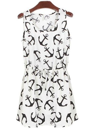 White Sleeveless Anchors Print Pleated Dress - Sheinside.com