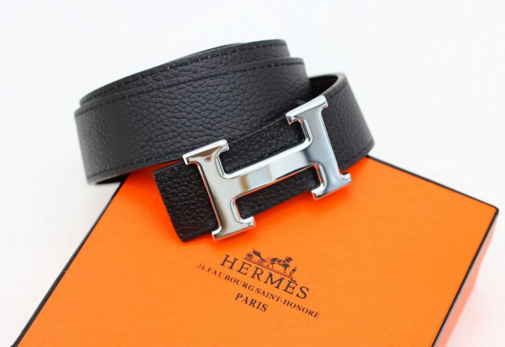 Кожаный ремень Hermes двухсторонний: черный + коричневый (можно менять пряжку)