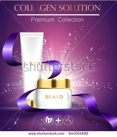 essense and a cream for skin care. 3d vector realistic illustration. Collagen solution . The satin ribbon is developing. The design of cosmetic products. Presentation of face care.
