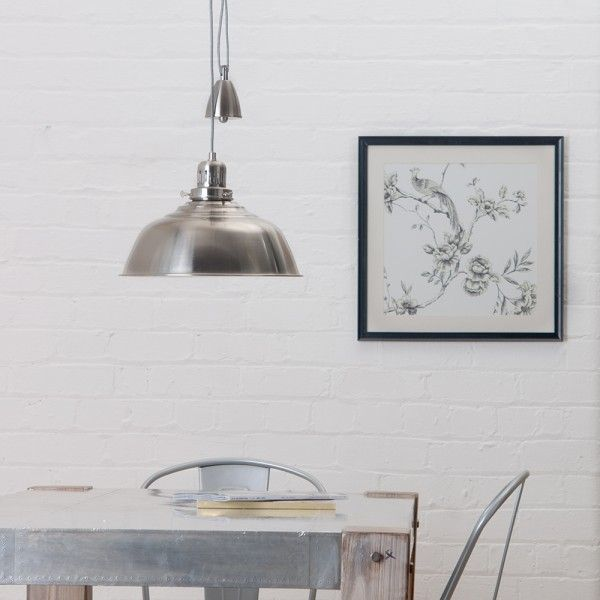 Industrial Rise And Fall Pendant Light: Rise And Fall Satin Chrome Pendant Light From Litecraft