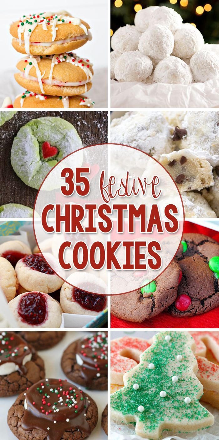 35 Festive Christmas Cookies - Perfect for neighbor gifts or even for Christmas Cookie Exchange Parties!
